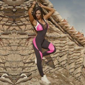 Schönheit zurück Sport Yoga Strampler Retro Panelled Ärmel Patchwork Fitness Workout Overall exericse Body-Kleid für Dame Sommer 43 ml E19