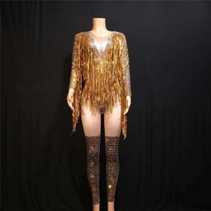 X40 Gold long tassel female bodysuit short jumpsuit singer pole dance costumes party wears Tights Rhinestone leotard performance dresses dj