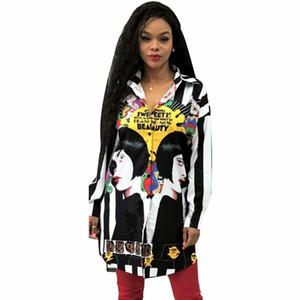 Африканские Платья Для Женщин Осень С Длинным Рукавом Печатная Блузка На Пуговицах Свободные Черные Длинные Рубашки Топы Женская Блузка Blusas Femininas