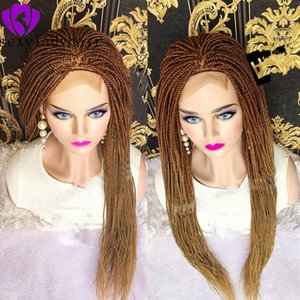 New brown roots ombre blonde braided hair full lace lace front wig box braid hair African American micro braid wig for black women