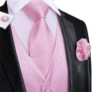 Vest Pink Floral seta festa di nozze per gli uomini della maglia cravatta Hanky gemelli Set 10 colori Bundle Deal uomo per il vestito le maglie Tuxedo