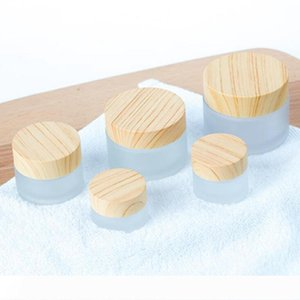 Frosted Glass Jar Cream Bottles Round Cosmetic Jars Hand Face Packing Bottles 5g 10g 15g 30g 50g Jars With Wood Cover