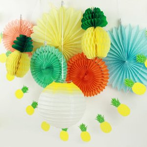 Packung von 9 Sommer-Party-Papier-Blumen-Dekoration Set (Laterne, Papier Fans, Ananas Garland) Tropical Hawaiian Geburtstag Karte Pool-Party