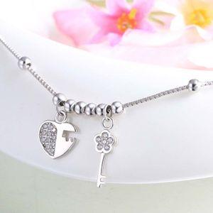 100% echt 925 Reines Silber Love Lock Key Fußkettchen Kette Strand Fußschmuck Barfuß Sandalen Knöchel Armbänder Für Frauen Mädchen C19041101
