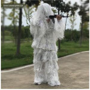 Crianças Adultos Ghillie Suit Branco escondido secreto Camouflage Define selva Roupa neve CS Hunting Woodland Equipment