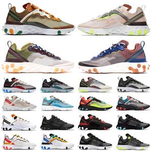 Nike React Element 87 React Eleman 55 Koşu Ayakkabıları Erkek Kadın Volt Üçlü Siyah Beyaz Oyunu Kraliyet Yelken Güneş Kırmızı Erkek Trainer Spor sneaker Boyutu 36-45