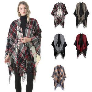 Plaid Pashmina 6 colori moda inverno caldo plaid poncho mant scialli oversize e avvolge sciarpe di cashmere LJJO7148