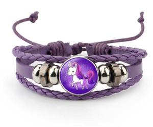 Braccialetto adorabile di unicorno con gemme di pony con bracciale in pelle intrecciata a mano blu