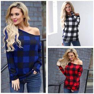 Buffalo Plaid-T-Shirts Red Oblique Kragen Shirts Frauen Langarm Casual Tops Tees Karomuster Designer Grid Blusen Blusas Pullover C7004