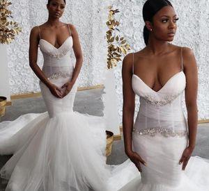 Sexy Mermaid Wedding Dresses Black Girls African Spaghetti Straps Bodice Bridal Gowns Crystals Beaded Court Train Vestidos De Novia 2021