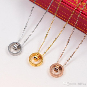 2020 LOVE Dual Circle Pendant Rose Gold Silver Color Color For Women Vintage Collar Fantasy Jewelry with original box set