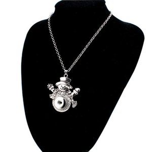 Fashion Women Girl Christmas Snap Necklace Silver Interchangeable Jewelry Fits 18MM Noosa Ginger Snaps Chunk Charm Button