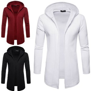 Hommes long hiver Casual Pull Slim manches Cardigan Trench Veste Costume 2019 hommes nouveaux manteau d'hiver manteau à capuche
