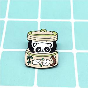 Panda Bun metal esmalte broche bonito personagem de banda desenhada Dumpling Steamer emblema do Pin chinês na moda Costume Backpack Jóias presente