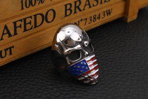 Fashion American Flag Masked Infidel Skull Biker Ring Stainless Steel Jewelry Gothic Skull Motor Biker Men Ring for Men Gift 2 Color
