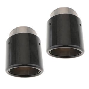 العادم 2PCS الفولاذ المقاوم للصدأ نصيحة من ألياف الكربون العادم العادم تلميح 80mm ومدخل 101MM 140MM طويل