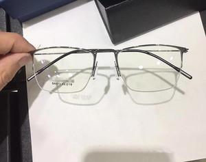 Marka-kalite Muhtasar erkek gözlük süper hafif gözlük çerçeve sanit52-18IP plating100% PureTitanium kare yarım jant hiçbir vida tam set kılıf