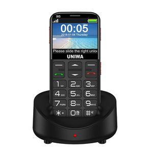 UNIWA V808G Mobile Phone 3G SOS Botão 1400mAh 2,31 Inch Curved Tela Old Man Celular Lanterna Tocha celular para Idosos