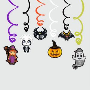 6pcs / set Decoração de Halloween dos desenhos animados da aranha bruxa da abóbora Pendant espiral Pingente partido Haunted House Pendure Garland