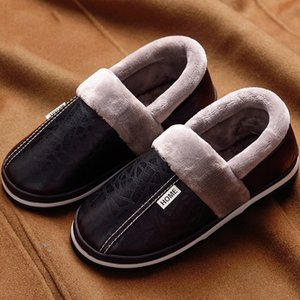 Fashion winter warm for women big size 35-46 fur soft adult female leather slippers non slip indoor shoes Y200706