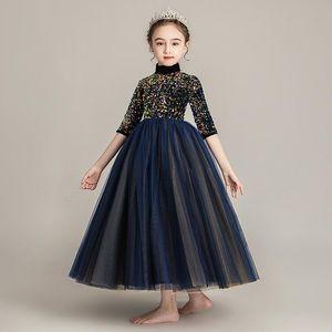 Flower Girls Long Dress for Kids Ball Gown Sequin Wedding Dresses Princess Birthday Dress 2020 Children Runway N03