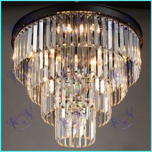 Américain Noir Fer Art lustres en cristal lustre lustre luminaires chambre lampe, fumée gris cristal lampe