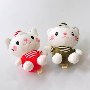 1pcs Boutique 10cm New Sweet Dolls Stuffed Animals & Plush Sweet Navy KT Cat Doll Pendants Boutique Doll Dolls Plush Keychains toys Girls Ba