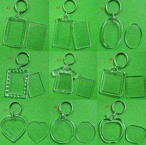 Atacado DIY Acrílico Em Branco Foto Chaveiros em Forma de Chaveiro Limpar Chave Inserir Plástico Foto Chaveiros Frete Grátis