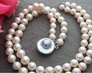 "Jewelryr Pearl NecklaceBeautiful Excelente! 17 ""11mm Bead-Nucleated Pearl Necklace-Mabe Broche Envío Gratis"