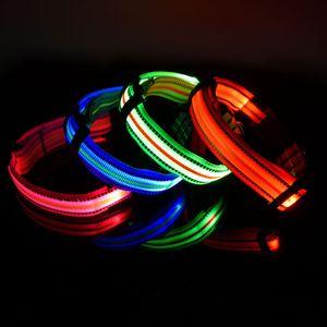 Collar de perro Trsnser la pequeña y mediana verde reflectante de Gaza carga ligera impermeable LED Perros Collares arnés 19Mer18 P35
