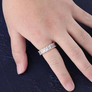 Замороженный вне кольца для мужчин женщин роскошь дизайнер Bling размер бриллиантовое кольцо хип-хоп золото серебро стороне медь циркон камнями Кольцо пара ювелирных 6-11