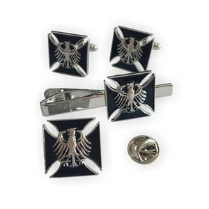Germany German Eagle Deutschland Bundesadler Iron Cross WW2 Eagle Military Army Pin & Cufflinks & Tie Bar Clip Set