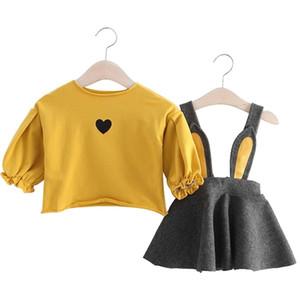 Herbst Winter Baby Mädchen Kleidung Set Neugeborenen Tops + bebe Kleid 2 Stück Anzug Baumwolle Baby Outfit Kaninchen Print Infant Mädchen Kleidung Y19050801