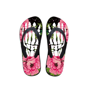 2020 Casual New Summer Fashion Outdoor Chinelos Mulheres flip-flops cópia do crânio Praia Slides flip-flops