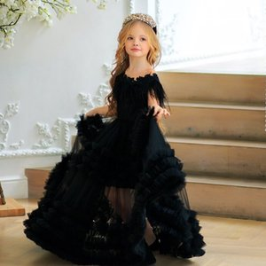 Chic Black Feather Flower Girl Dresses For Wedding Beaded Toddler Pageant Gowns Bateau Neck Floor Length Ruffled Tulle Kids Prom Dress