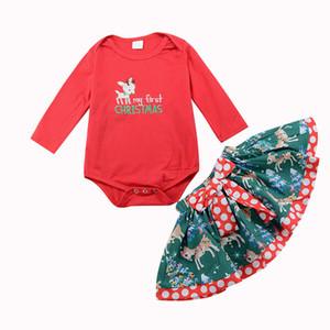 Baby Girl Outfits Lettera ricamo Cartoon manica lunga Bow Ruffle stampato Gonna di Natale insieme a due pezzi vestiti del bambino 0-18M 07