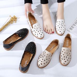 La venta caliente verano de las mujeres de los holgazanes salidas cortadas se deslizan en los zapatos planos talones bajos hueco zapatos ocasionales Mujer Pisos Alpargatas sandalias