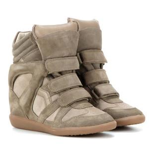 Hot Sale-Box Calçados Isabel Bekett couro e camurça Fashion Designer clássico Marant couro genuíno Altura aumentando sapatos