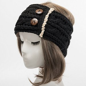 Women Headband 2 Buttons Decorative Thick Thermal Knitted Sports Hairband Head Wrap Band Headwear For Autumn Winter
