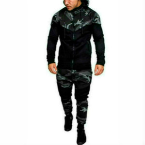 Mens Fashion Hooded Tracksuits Camouflage Designer Panelled Hoodies Pants 2pcs Clothing Sets Pullover Outfits Mens Clothes