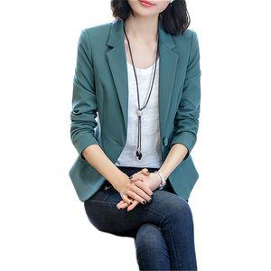 Blazer coat women green long sleeve S-4XL plus size 2020 spring autumn new Korean short slim single button working coats LD1315