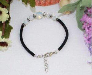 Braccialetto di opale Perle di vetro Braccialetto di corda Cordoncino di cuoio nero Braccialetto di perle di mare Braccialetto di perle oceaniche Accessori artigianali di gioielli di donne