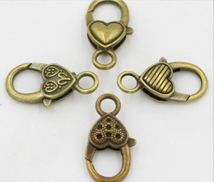 New DIY Fashion Jewelry Accessory Metal Vintage Bronze Heart Waterdrop Hooks Lobster Clasps for Jewelry Making