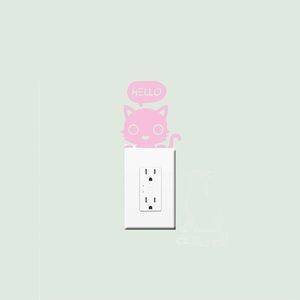11*12cm Cat Say Hello Home Decor Light Switch sticker Art Cute Socket Decoration Pattern Wall Decals Vinyl DIY Stickers LC1303