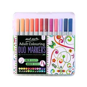 Высокое качество 24Color Dual Brush Fine Soft Art Markers Pen Brush Tip Water Based Эскиз Маркеры для ученической принадлежности искусства