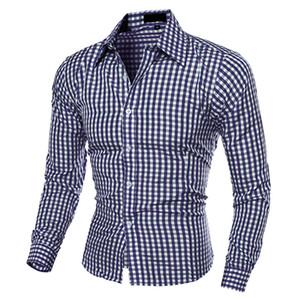قمصان رجالية عارضة أزياء التلبيب زر أسفل منقوشة بأكمام طويلة تناسب قميص أعلى