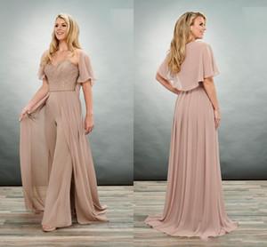 2020 Einzigartige Brown Mutter der Braut-Bräutigam-Jumpsuits Hosenanzüge Schatz-Spitze-Schal-Chiffon- plus Größe preiswerte Abend-formales Kleid