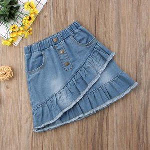 Casual Toddler Kids Girls Blue Denim & Skorts Baby & Kids Clothing Mini Skirts Sunsuit Baby Girl Summer Short Ruffles High Waist Jeans RKDH#