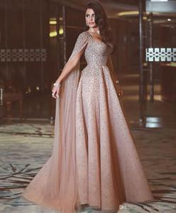 Luxury Blush Pink A Line Prom Dresses Cinghie per spaghetti Cristalli in rilievo Applique floreale Wateau Train Strass Abiti da sera formale