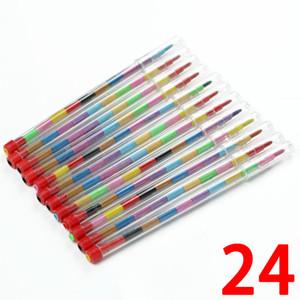 Favores de partido 24pcs / set DIY Intercambia niños lápices de colores Punto lápiz pastel del partido del arte botín bolsa rellenos Dibujo Lápiz Set